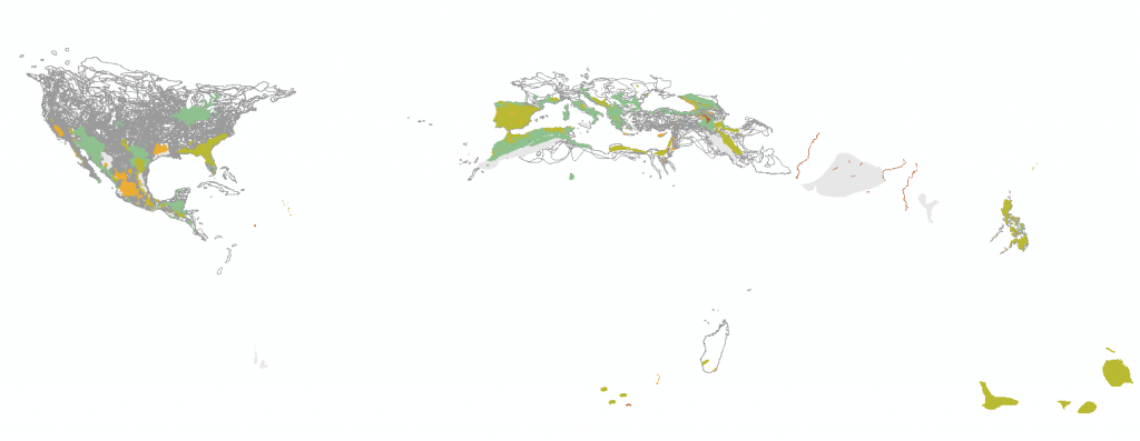 IUCN Red List - Spatial data coverage for reptiles
