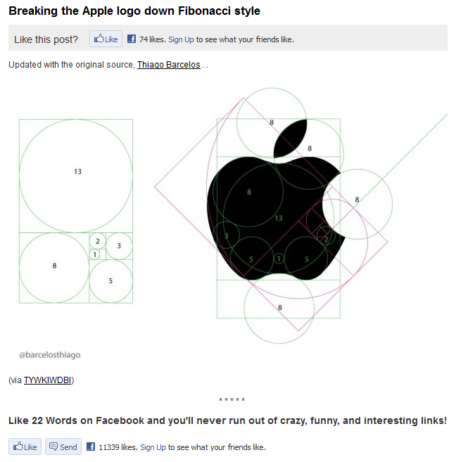 The first instance of the Fibonacci Apple