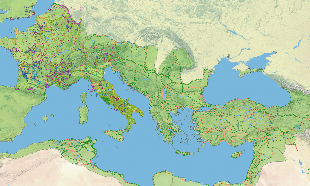 The Peutinger Table data in classical GIS format from Rome's World