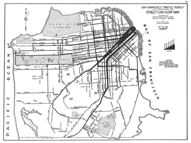 1937 Map of Street Car Access in San Francisco, from Eric Fischer