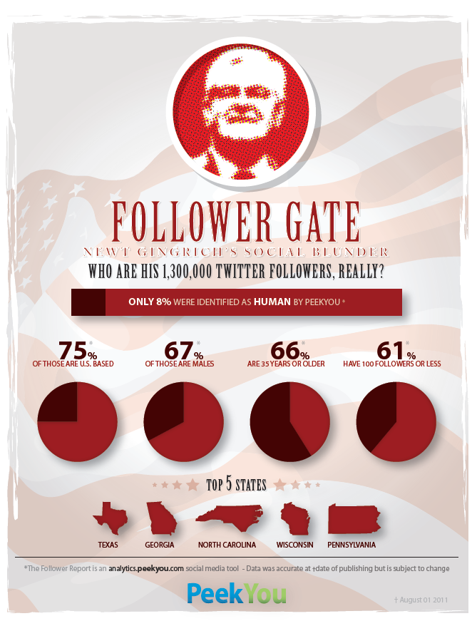 Newt Gingrich Twitter Follower Analysis by PeekYou