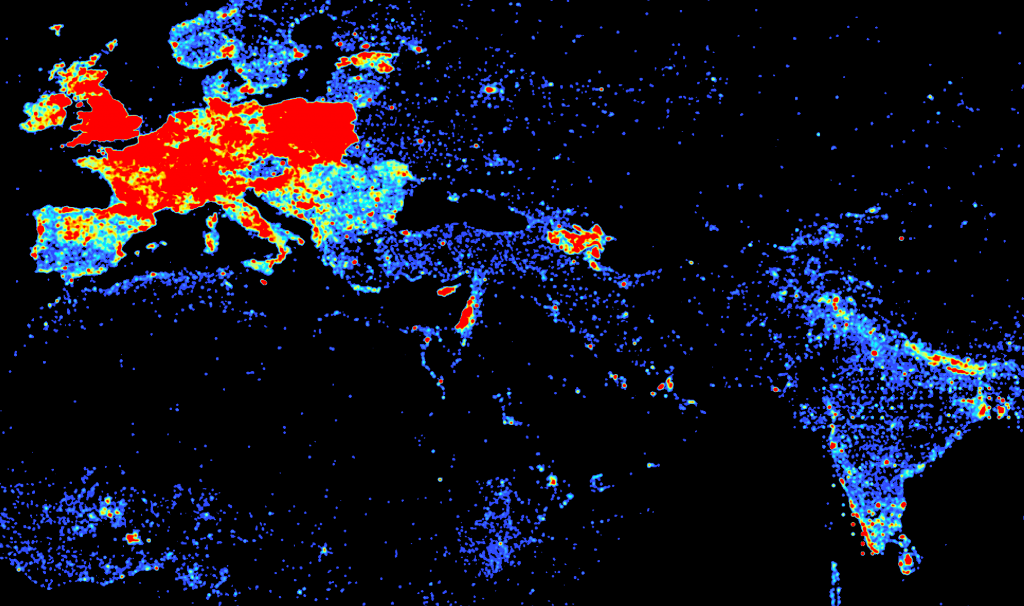 DBpedia Article Density Europe, South Asia and North Africa