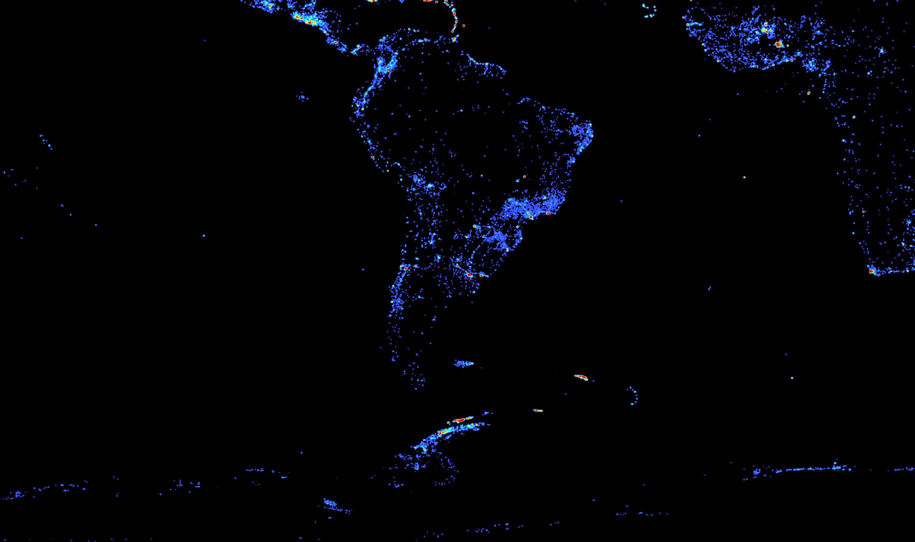 Comparing Population Density And Wikipedia Density On GIS Day - South american population map