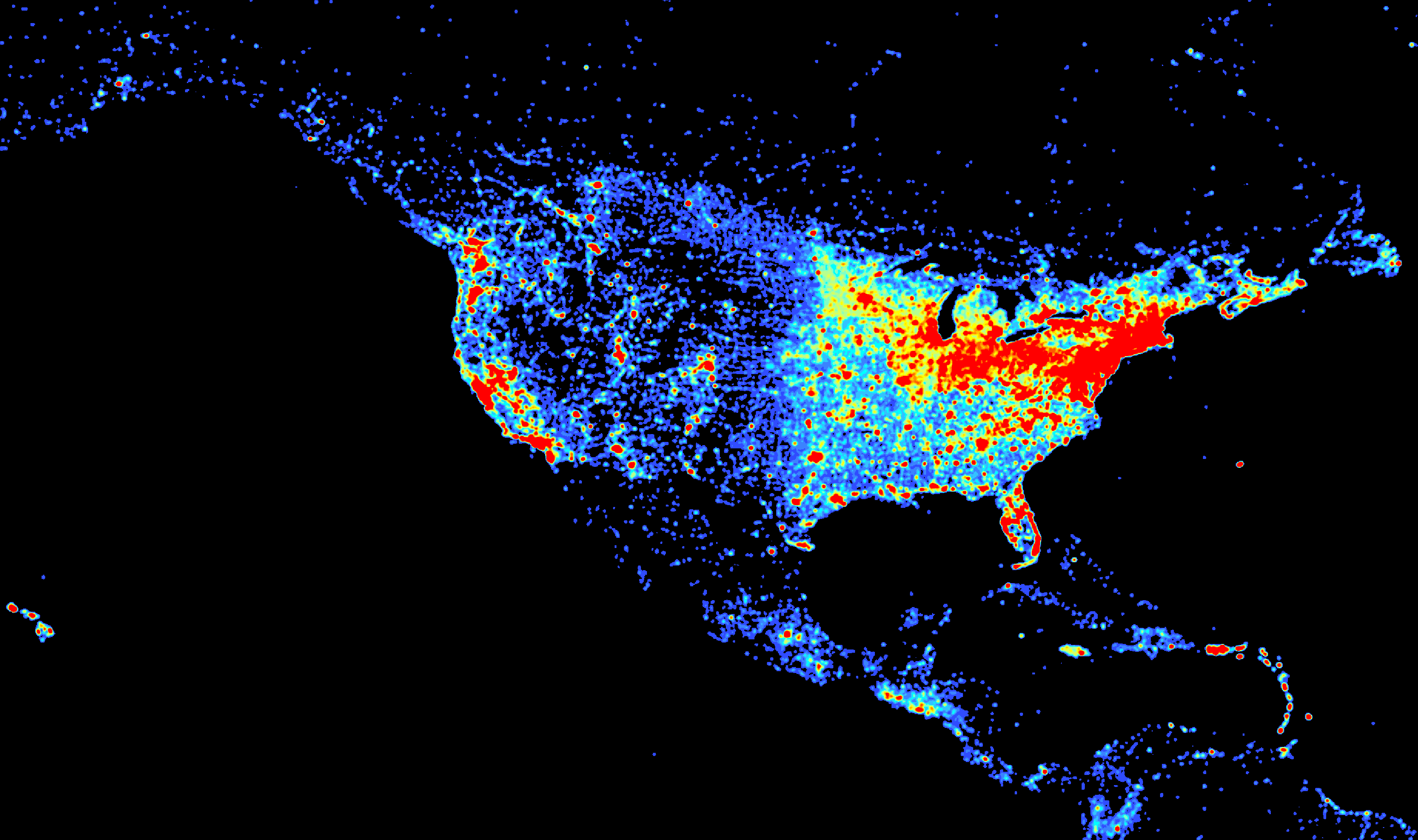 Comparing Population Density And Wikipedia Density On GIS Day - Us population distribution map