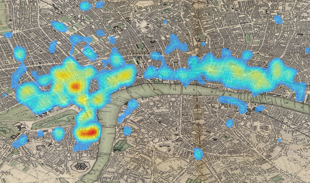 Wikipedia articles located in London, overlaid on a 19th century map of the city