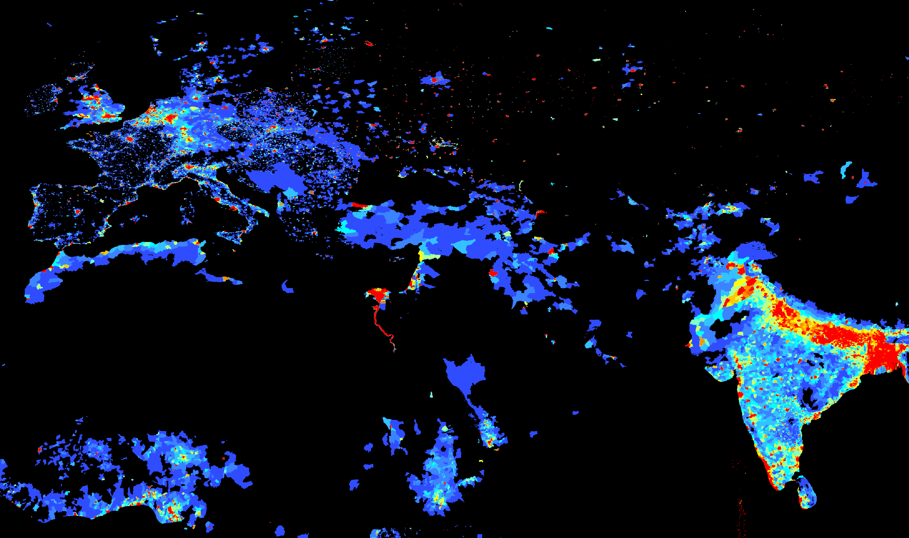 Population Density Europe, South Asia And North Africa