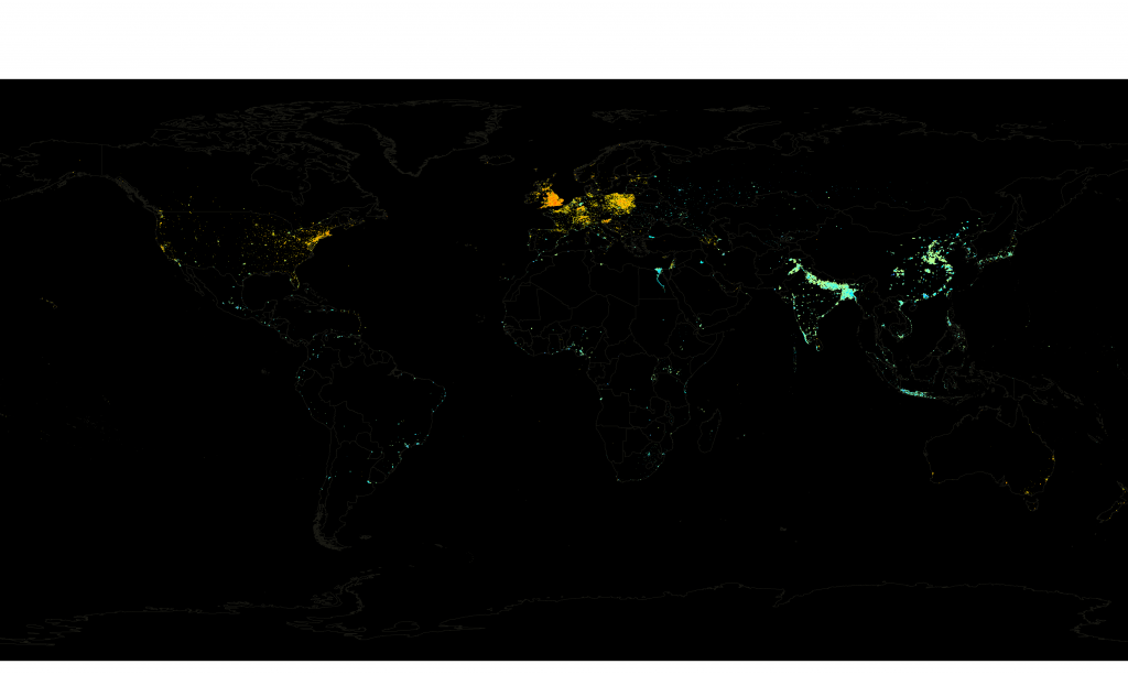 Ratio of Wikipedia Article Density to Population Density
