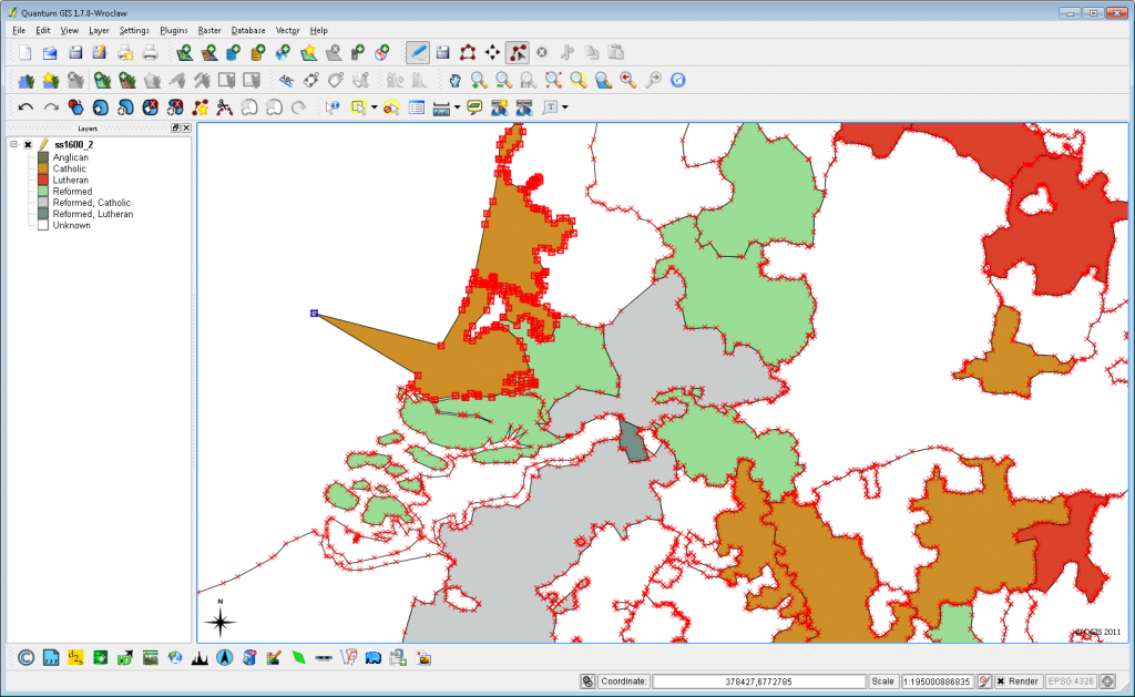 The PostGIS database accessed via QGIS