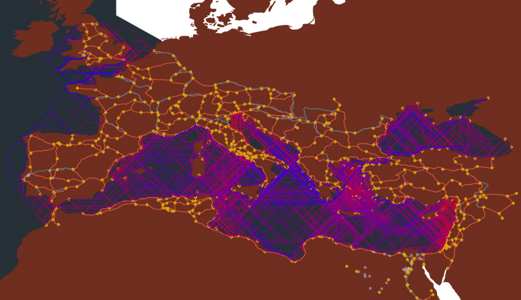 Routes in the Roman Empire from the ORBIS project