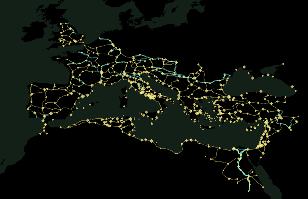 Roman network in abstract color scheme