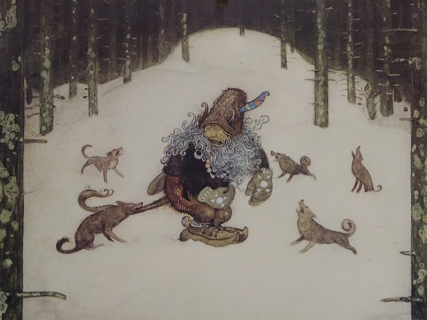 Jon Bauer's illustration of a troll beset by wolves