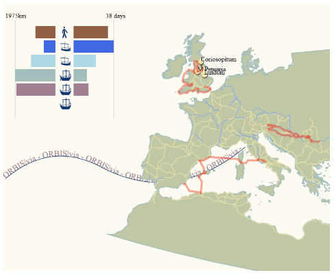 The path of a user's route selection and the summary statistics for the time and distance spent on each mode of travel.
