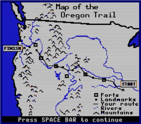 The Oregon Trail game map, emphasizing its network characteristics.