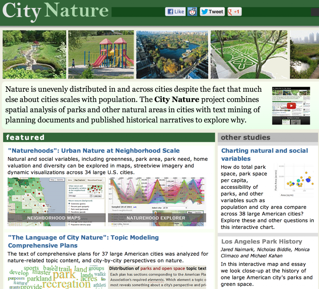 Screenshot from the Stanford City Nature Project site
